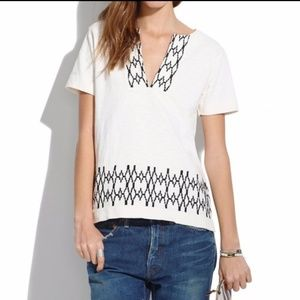 Madewell Geometric Embroidered Top Size M